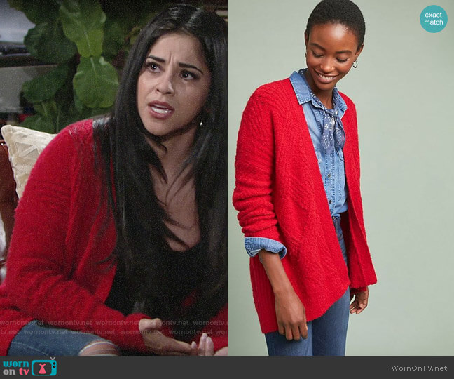 Anthropologie Moth Cable Knit Cardigan worn by Mia Rosales (Noemi Gonzalez) on The Young & the Restless