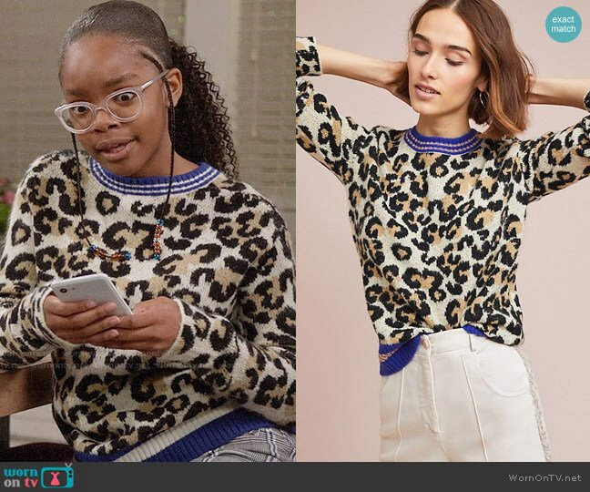 Anthropologie Alcee Sporty Leopard Sweater worn by Diane Johnson (Marsai Martin) on Blackish
