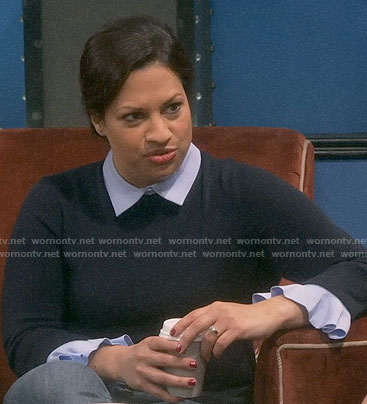 Anu's navy layered sweater on The Big Bang Theory