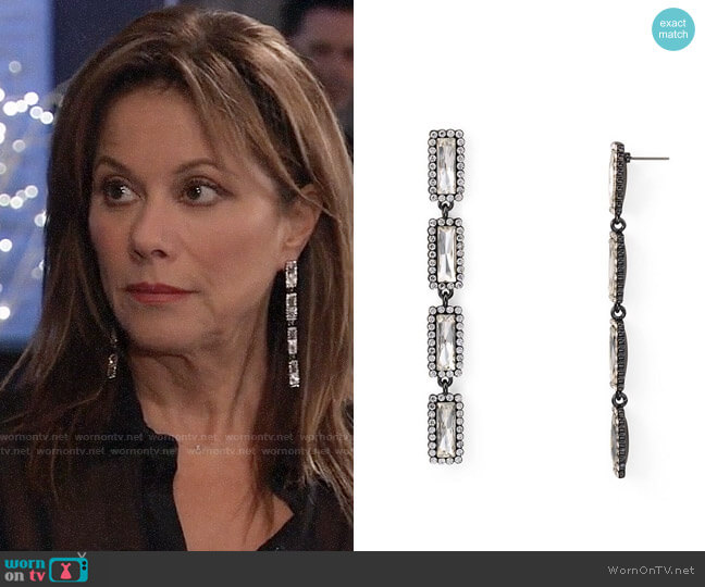 Aqua Crystal Frame Drop Earrings worn by Alexis Davis (Nancy Lee Grahn) on General Hospital
