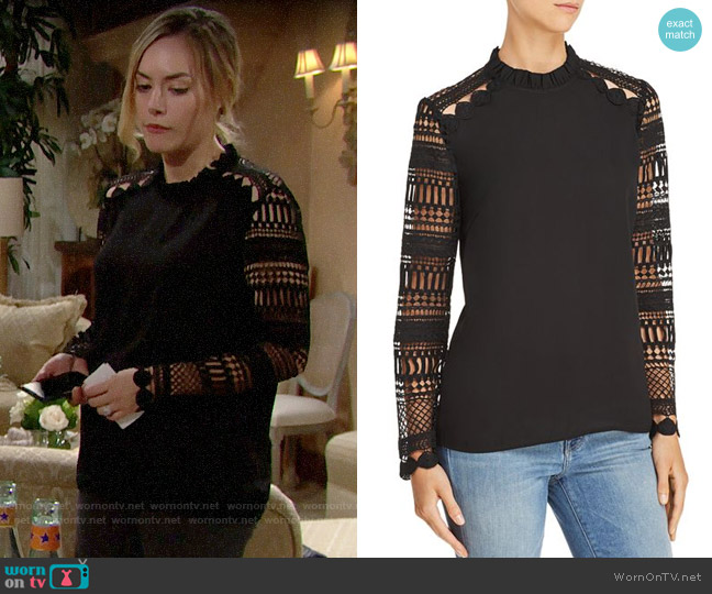 Aqua Lace-Sleeve Top worn by Hope Logan (Annika Noelle) on The Bold & the Beautiful
