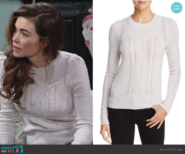 Aqua Mixed Knit Cashmere Sweater worn by Victoria Newman (Amelia Heinle) on The Young & the Restless