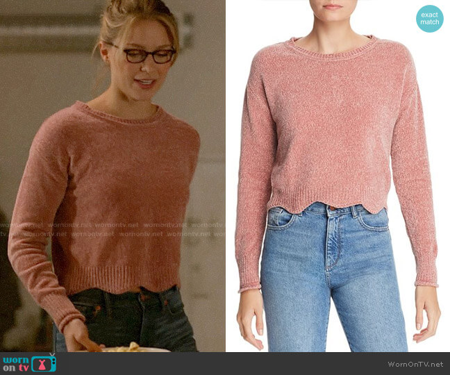 Aqua Scalloped Cropped Chenille Sweater worn by Kara Danvers (Melissa Benoist) on Supergirl