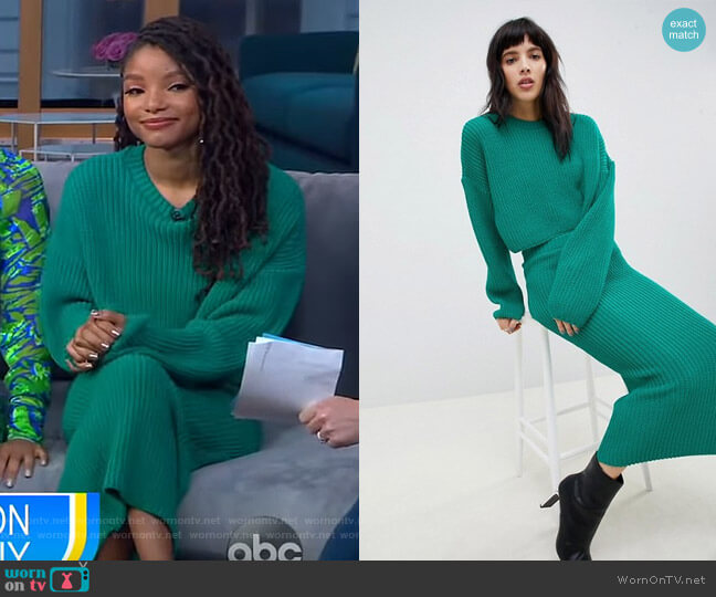 Two-Piece Cropped Oversized Sweater in Rib by ASOS Design worn by Halle Bailey on GMA Day