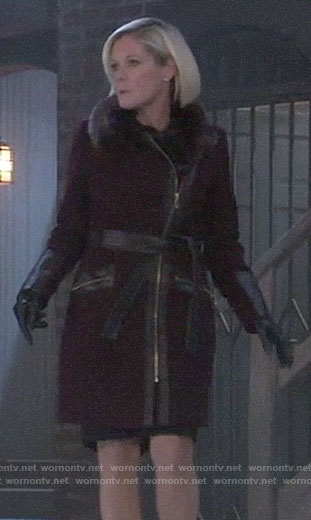 Ava's purple leather-trim coat with fur collar on General Hospital