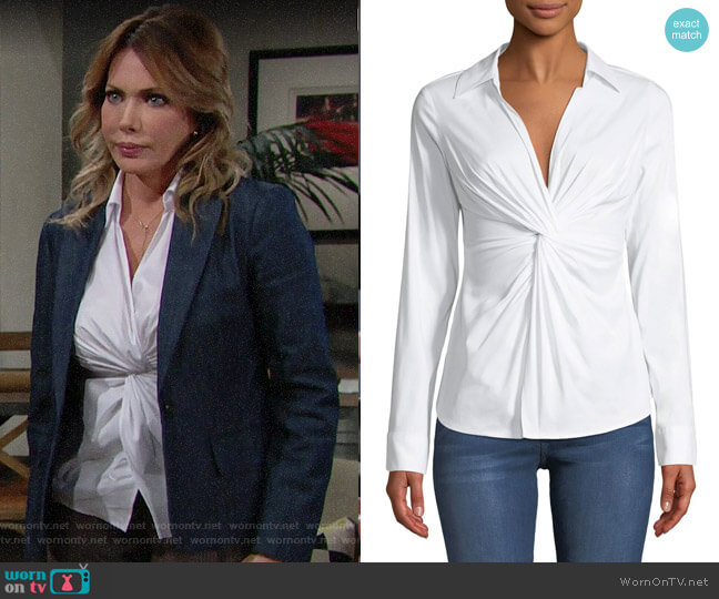 Bailey 44 Tallula Twist-Front Long-Sleeve Shirt worn by Taylor Hayes (Hunter Tylo) on The Bold & the Beautiful