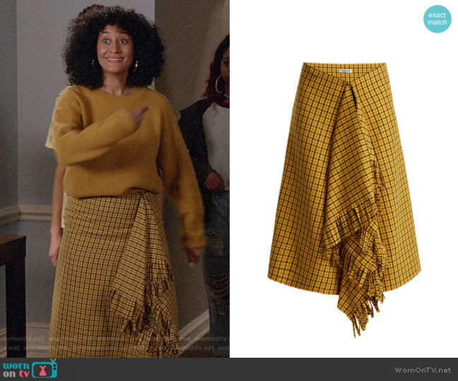 Balenciaga Ruffle-detail checked wool skirt worn by Rainbow Johnson (Tracee Ellis Ross) on Blackish