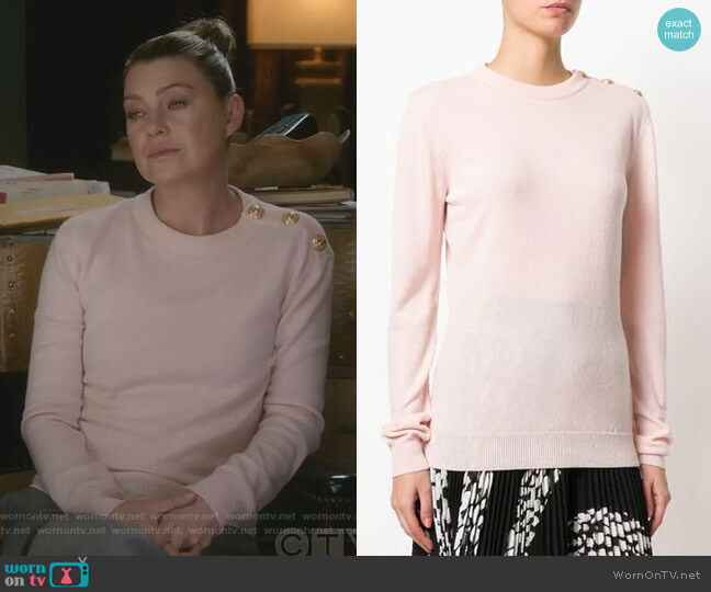 Button-Embellished Jumper by Balmain worn by Meredith Grey (Ellen Pompeo) on Greys Anatomy