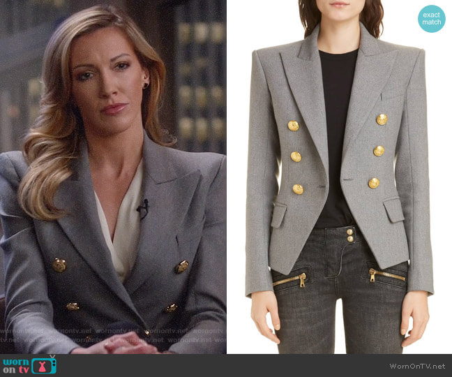 Balmain Double Breasted Wool Blend Jacket worn by Laurel Lance (Katie Cassidy) on Arrow