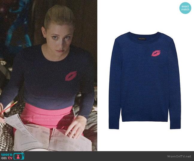 Banana Republic Lips Motif Sweater worn by Betty Cooper (Lili Reinhart) on Riverdale