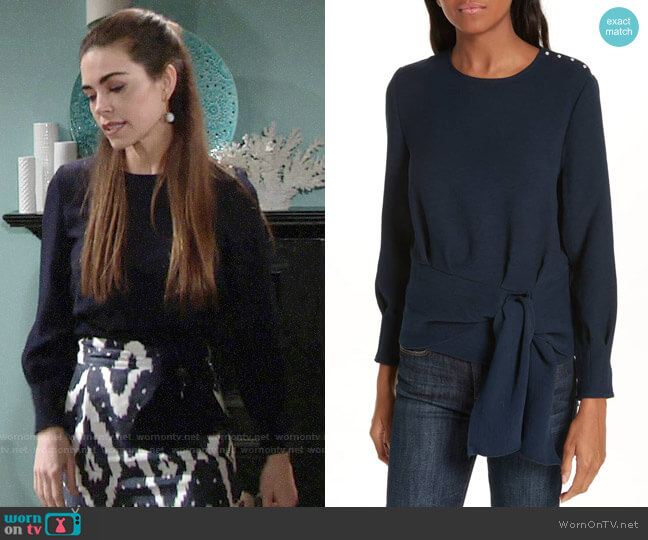 ba&sh Palina Top worn by Victoria Newman (Amelia Heinle) on The Young & the Restless