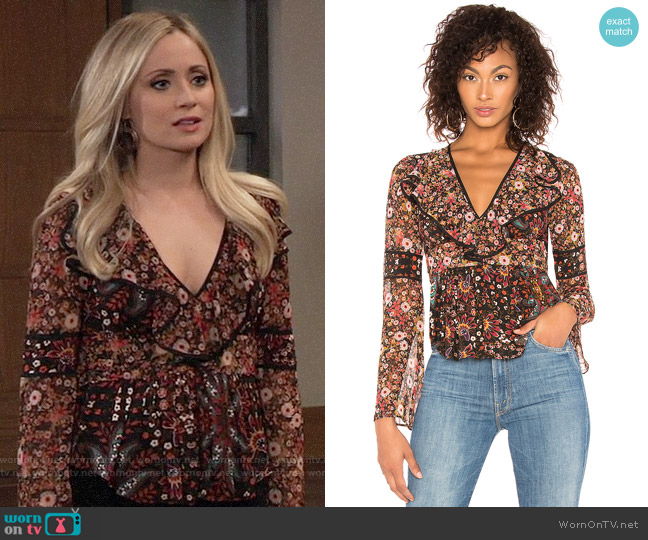 Bcbgeneration Mixed-Print Peplum Top worn by Lulu Spencer Falconeri (Emme Rylan) on General Hospital