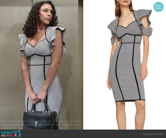 Bcbgmaxazria Houndstooth Jacquard Sheath Dress worn by Kerry Johnson (Alice Hunter) on The Young & the Restless