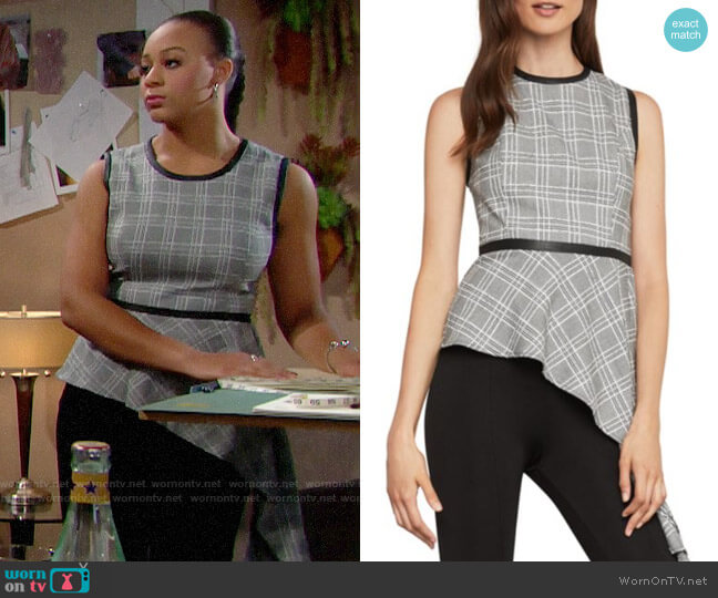 Bcbgmaxazria Asymmetrical Houndstooth Drape Top worn by Emma Barber (Nia Sioux) on The Bold & the Beautiful