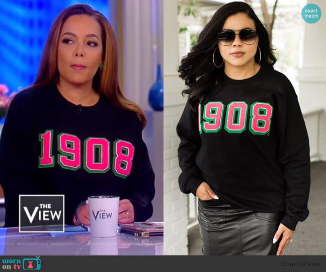 Black 1908 Sweatshirt by Fashionably Greek worn by Sunny Hostin  on The View