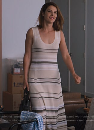 Lisa's beige striped sleeveless dress on Friends from College
