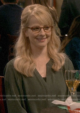 Bernadette's green top on The Big Bang Theory