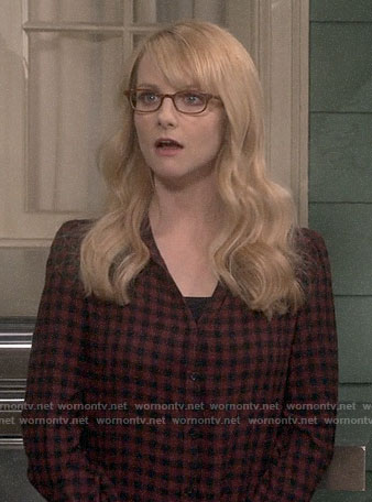 Bernadette's red gingham check shirt on The Big Bang Theory