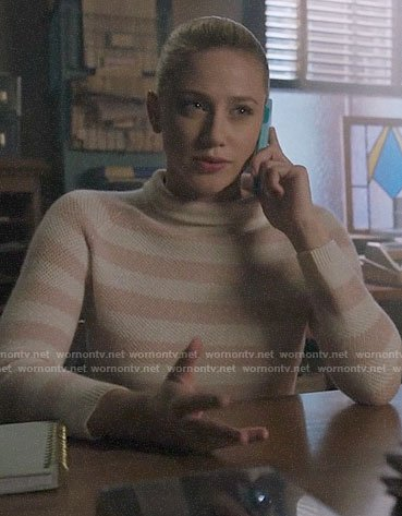 Betty's pink striped sweater on Riverdale