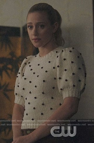 Betty's puff sleeve pom pom sweater on Riverdale