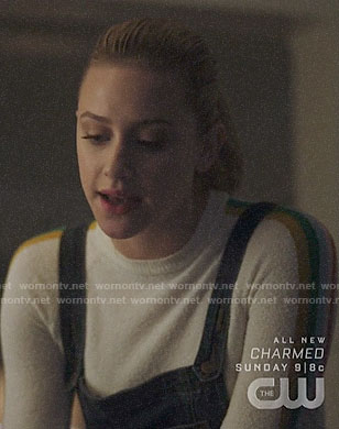 Betty's rainbow stripe sweater and denim overalls on Riverdale