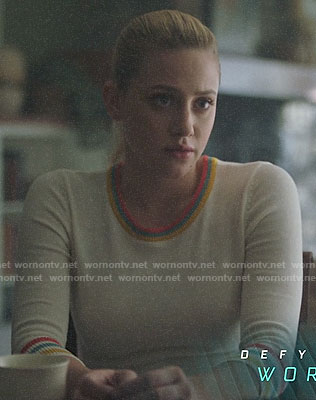 Betty's striped trim sweater on Riverdale