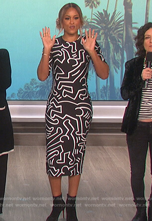 Eve's black and white abstract print dress on The Talk