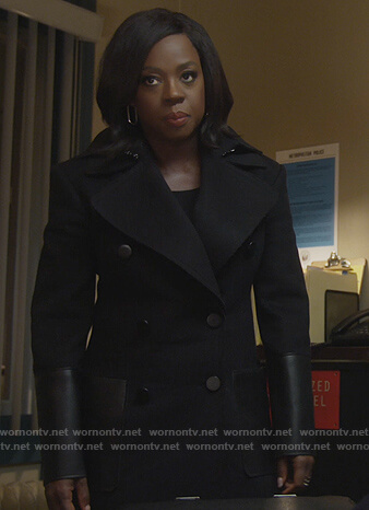 Annalise's black leather detailed coat on How to Get Away with Murder