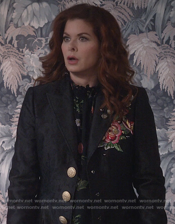 Grace's black floral embroidered coat on Will and Grace