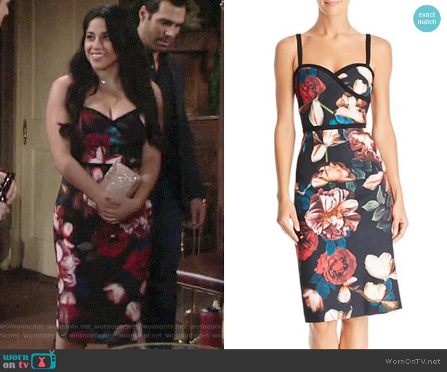 Black Halo Nocturne Daria Dress worn by Mia Rosales (Noemi Gonzalez) on The Young & the Restless