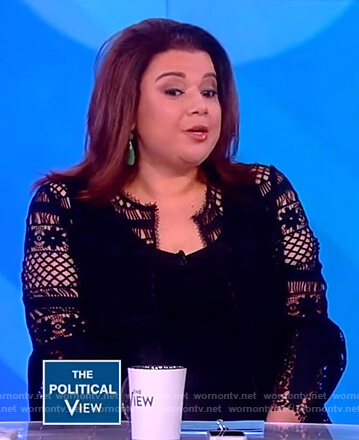 Ana's black crochet knit jacket on The View