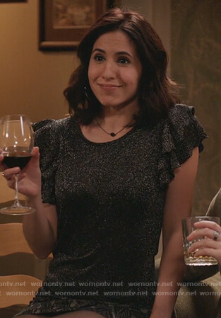 Valencia's metallic ruffle sleeve top and printed mini skirt on Crazy Ex Girlfriend