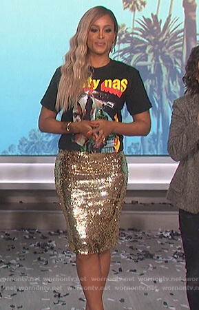 Eve's gold sequin skirt and Nasty Nas tee on The Talk