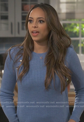 Claire's blue button detail sweater on Happy Together