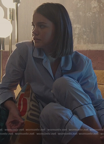 Callie's blue piping trim pajamas on Good Trouble