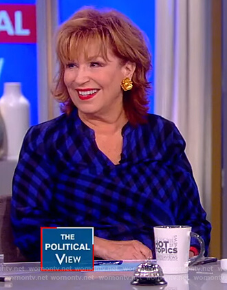 Joy's blue swirl checked blouse on The View