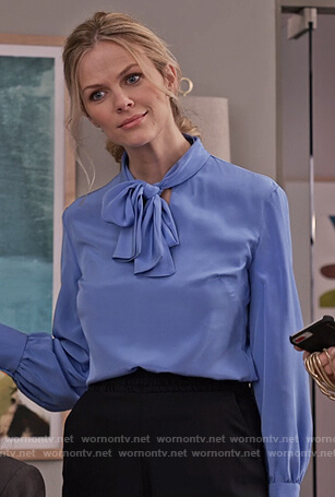 Mallory's blue silk tie neck blouse on Grace and Frankie