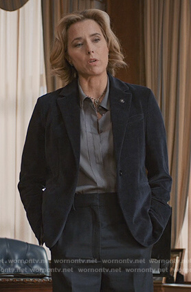 Elizabeth's blue velvet blazer on Madam Secretary