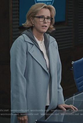 Elizabeth's blue wrap coat on Madam Secretary