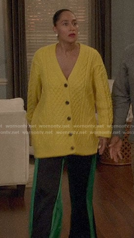 Bo's yellow cable knit cardigan on Black-ish