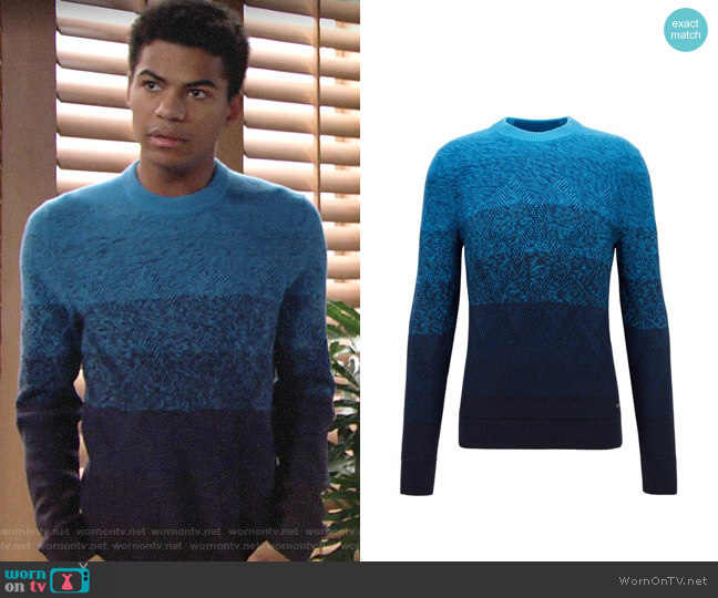 BOSS Degrade Sweater with Aran-knit Detailing worn by Charlie Ashby (Noah Alexander Gerry) on The Young & the Restless