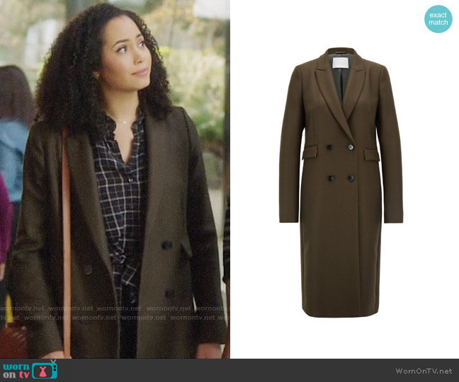 Double breasted Coat by Hugo Boss worn by Macy Vaughn (Madeleine Mantock) on Charmed