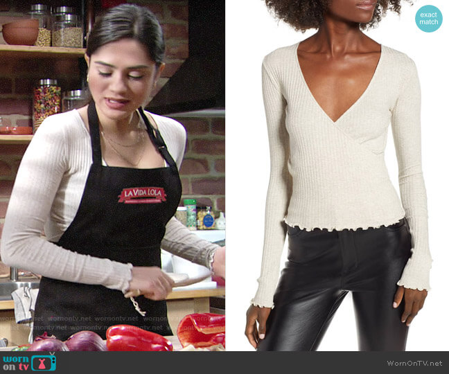 BP Lettuce Edge Ribbed Top worn by Sasha Calle on The Young & the Restless