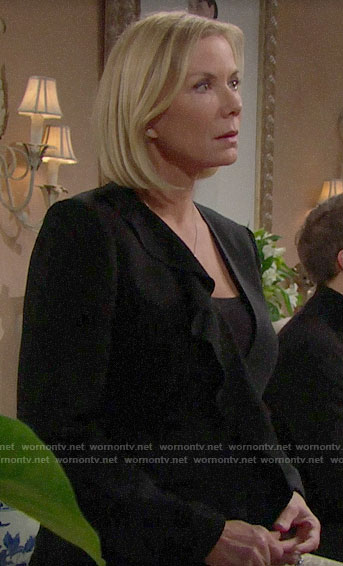 Brooke's black ruffled front jacket on The Bold and the Beautiful