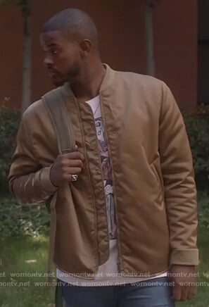 Aaron's brown bomber jacket on Grown-ish