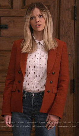 Mallory's brown double breasted blazer on Grace and Frankie