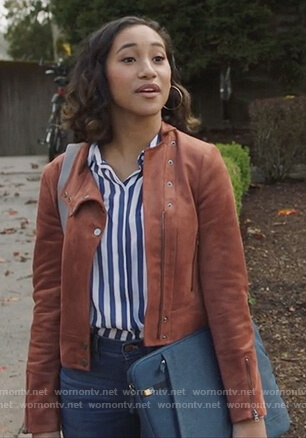 Caitlin's suede jacket and striped top on PLL The Perfectionists