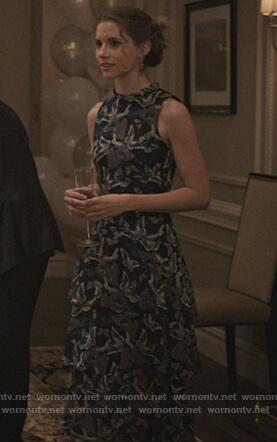 Daisey's black belted floral dress on Madam Secretary