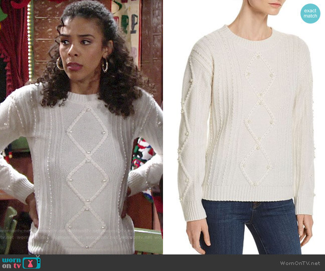 C by Bloomingdales Embellished Aran-Knit Cashmere Sweater worn by Kerry Johnson (Alice Hunter) on The Young & the Restless