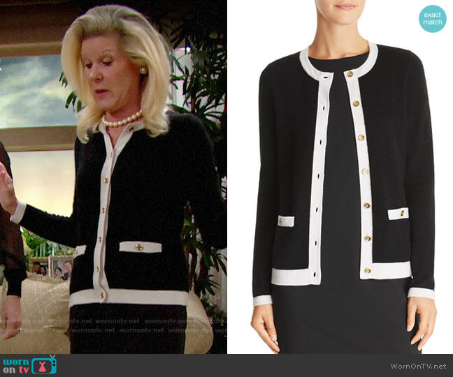 C by Bloomingdales Pocket Cashmere Cardigan worn by Alley Mills on The Bold & the Beautiful